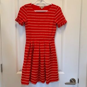 Bordeaux Scallop Stripes Dress from Anthropologie